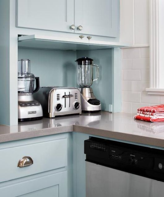 Kitchen Garage Cabinets: Hiding Small Appliances