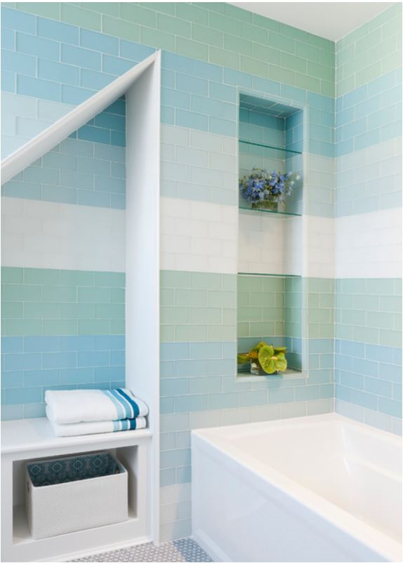 Stripes in the Shower | Centsational Style on striped bathroom walls, designs painted striped walls, stripe designs for dining rooms,