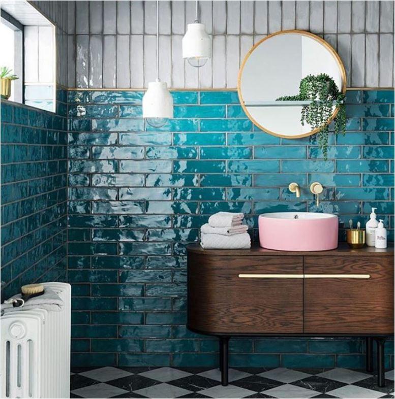 Teal Blue Glass Backsplash Tiles Cyan Bathroom Wall Tiles ...