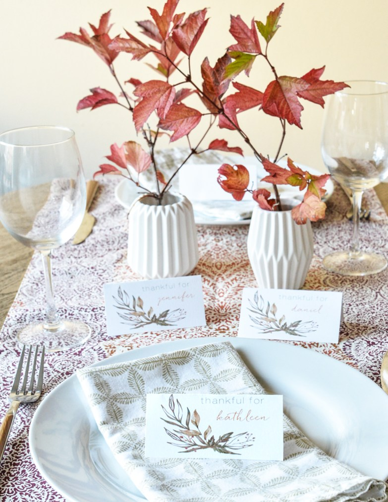 Printable Leaf Thanksgiving Place Cards