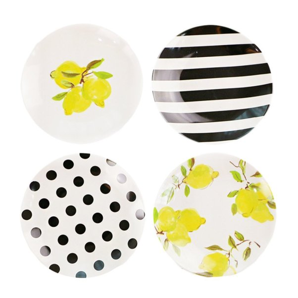 farmhouse lemon decor-kate spade lemon plates