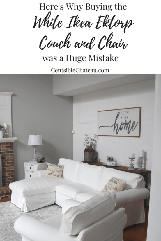 I was so excited to get my farmhouse style Ikea Ektorp. But I'm here to tell you, it was a mistake. All the reviews I read said it would be great. Before buying the white IKEA couch and chair, read this. #ikea #ikeaektorp #ikeacouch #whiteikeacouch