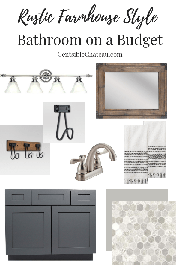 See all of the design elements we are using to create our rustic farmhouse style bathroom! CentsibleChateau.com