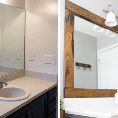 How to Frame a Builder Grade Bathroom Mirror for $25 or less- With Printable Instructions