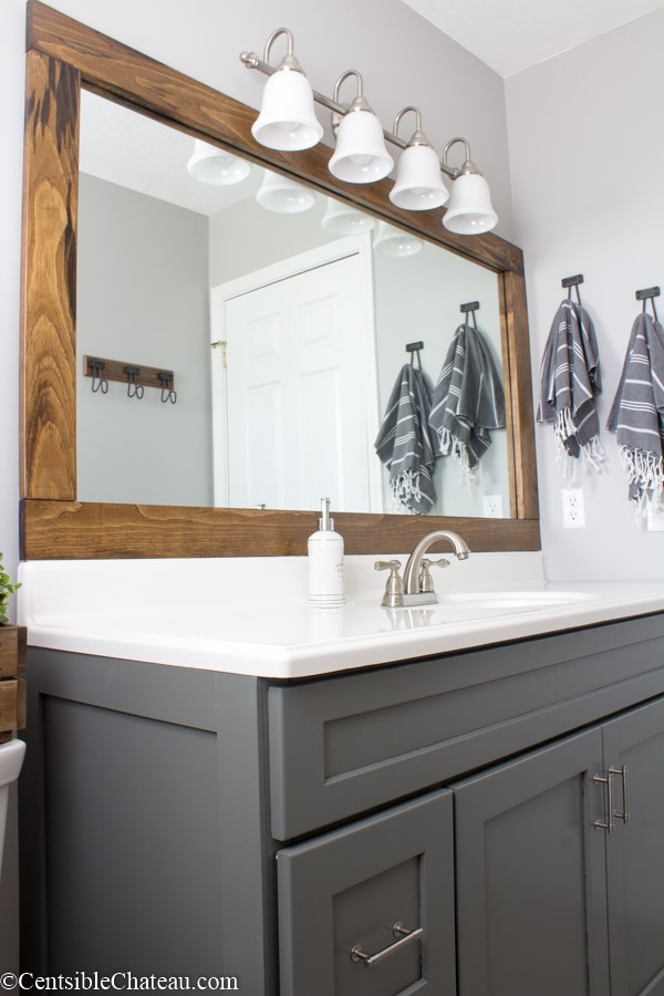 How to Frame a Builder Grade Bathroom Mirror for  or less