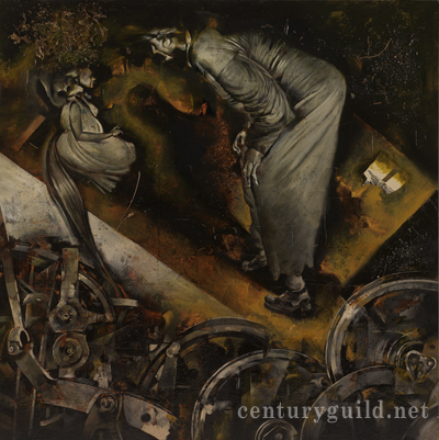 "La Roue (Gance, 1922) by Dave McKean (44"" x 44"", mixed media behind tinted glass)"