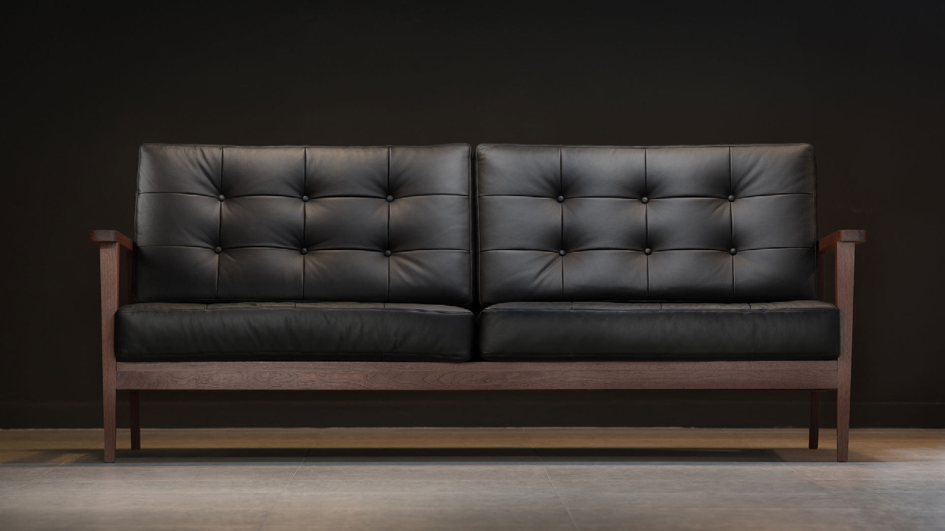 The Mid Century Show Wood Sofa Black Leather Century Modern
