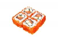 Maki sushi rolls with avocado, salmon and caviar