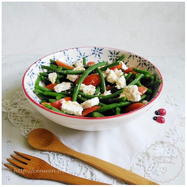 Salade de haricots verts tomates cerises et feta recette facile, légère et gourmande