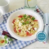 Salade composée : pâtes, concombre, tomates cerise, feta