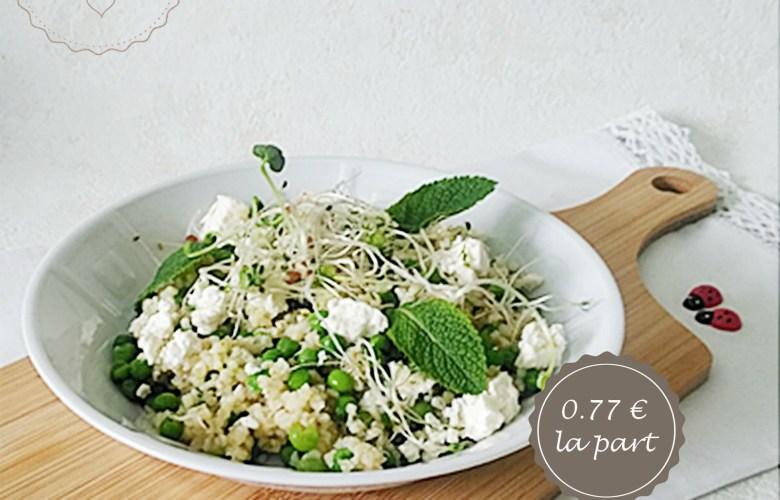 Salade composée : boulgour, petits pois, feta et menthe