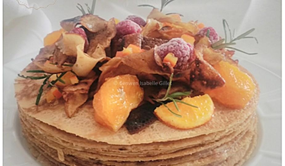 Gâteau de crêpes à la crème de marrons et mandarine confite, recette végétalienne, vegan, sans œuf et sans produits laitiers. Recette saine, gourmande, facile et économique. ♥