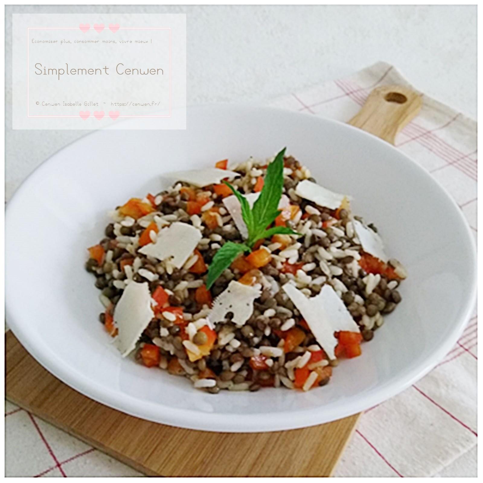 Salade composée : riz, lentilles, poivron rouge et tome de brebis