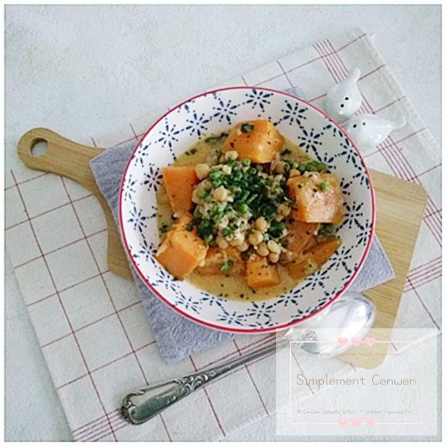 Curry de patates douces, pois chiches et petits pois
