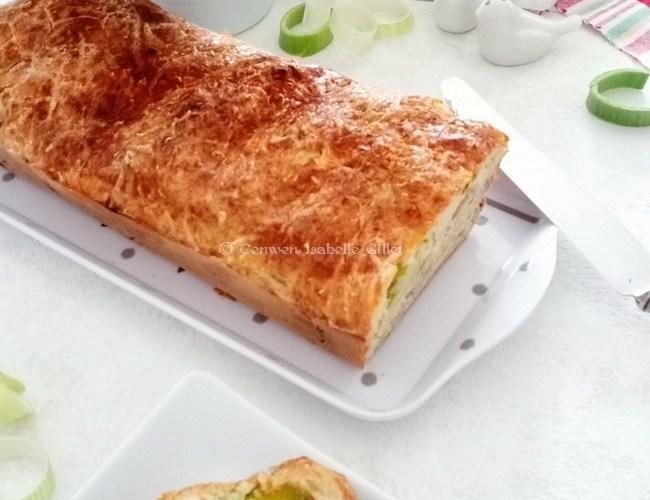 Cake aux poireaux et Bleu d'Auvergne
