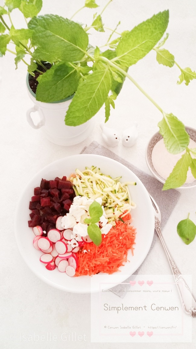 Buddah bowl sain et gourmand avec carottes courgettes radis betterave et feta