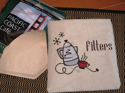 Embroidered coffee filters pouch