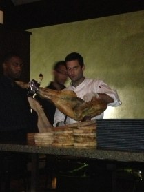 Chef Johnny Aboud slicing up some Jambon (yes that's a leg of ham) for customers