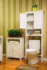 Bathroom Wooden Cabinet Over Toilet With 2 Shutter Doors White intended for [keyword