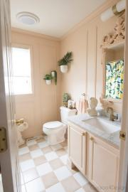 Blush And Marble Vintage Inspired Budget Bathroom Remodel pertaining to ucwords]