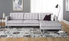 Contemporary Tufted Sofa With Oversized Chaise In Light Grey in 14+ Best Living Room Couch