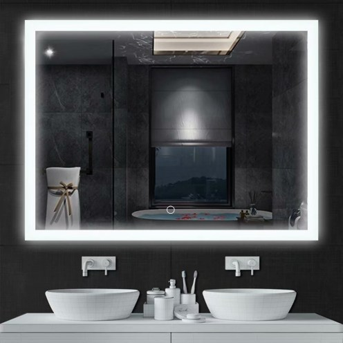 Led Touch Screen Dimmable Frameless Bathroom Mirror With Anti Fog Na pertaining to [keyword