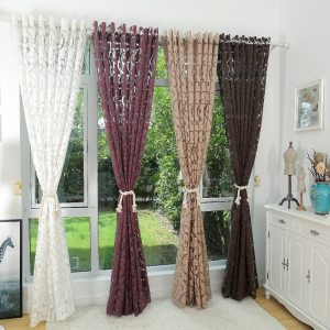 Luxury Fashion Style Semi Blackout Curtains Kitchen Curtains Window Living Room Living Room Curtain Panel Jacquard Fabrics Door pertaining to ucwords]