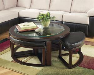 Marion Glass Round Cocktail Table W 4 Backless Stools Signature Design Ashley At Royal Furniture inside ucwords]