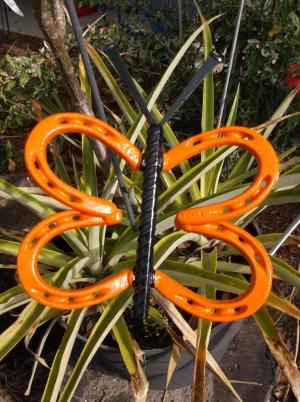 Orange Horseshoe Butterfly Garden Art Garden Stake Etsy regarding [keyword