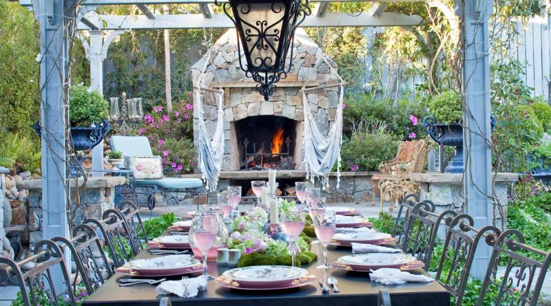 Outdoor Stone Fireplace Options And Ideas Hgtv regarding 14+ Awesome Outdoor Dining Room With Rural Style