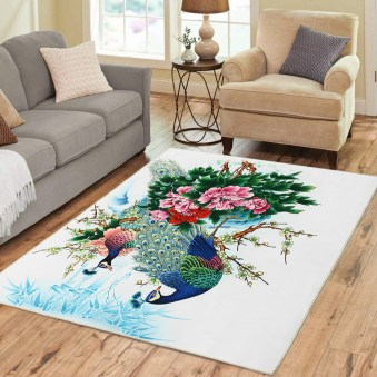 Peacock Flower Area Floor Rug Carpet For Bedroom Living Room Home Mat Decoration regarding 27+ Dorable Living Room Carpet