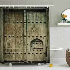 Rustic Ancient Doors Antique Historic Architecture Wooden Aged Decorative Oriental Image Polyester Bathroom Shower Curtain Brow with regard to 27+ Nice Wooden Bathroom Doors