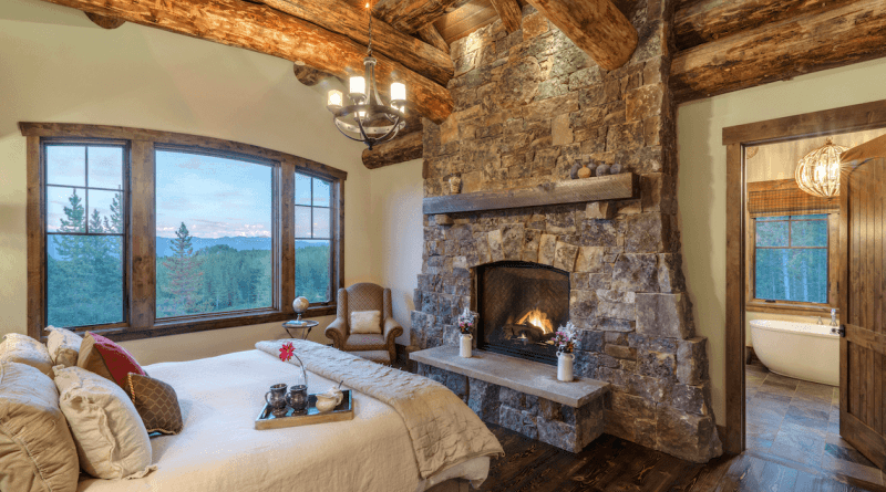 Rustic Bedroom Stone Fireplace Beckallen Cabinetry with regard to ucwords]