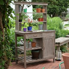 Rustic Garden Storage Potting Bench Driftwood Finish At Vintage with ucwords]