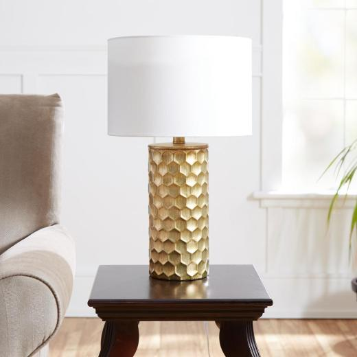 Silverwood Furniture Reimagined Hive Gilded 21 In Gold Table Lamp With Linen Shade for ucwords]