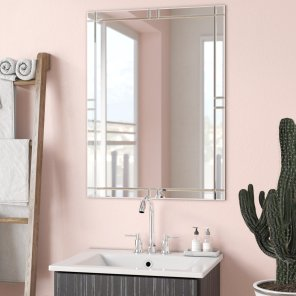 Wade Logan Frameless Wall Mirror Reviews Wayfair within 24+ Fantastic Frameless Bathroom Mirrors