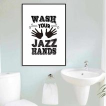 Wash Your Jazz Hands Print Poster Scandinavian Calligraphy Children Bathroom Printable Wall Art Canvas Painting Home Decor pertaining to 23+ Outstanding Bathroom Wall Art Canvas
