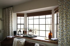 Whte Nice Drapes Bay Window Ideas With White Floor Lamp And Wooden inside ucwords]