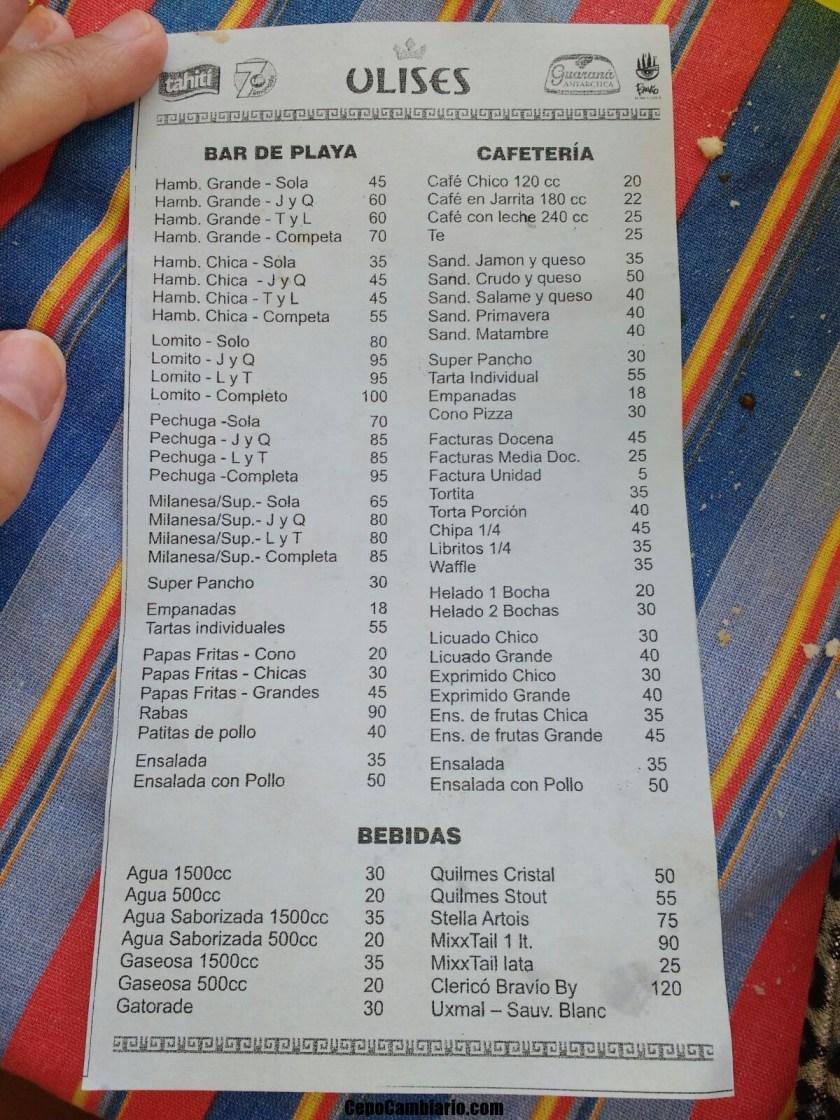 Precios de Bar de Playa en ULISES en Mar del Plata