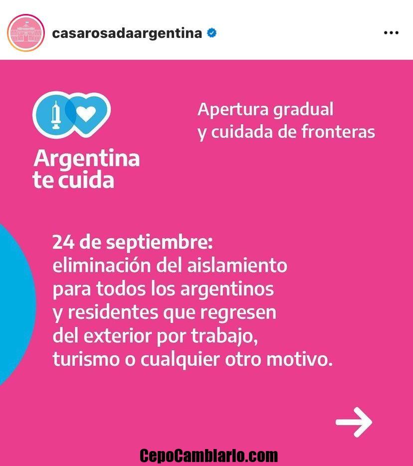 No hay más Cuarentena para Argentinos al llegar al país desde el viernes 24