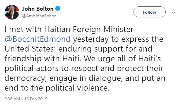Bocchit Edmond also met with Trump's national security advisor John Bolton.