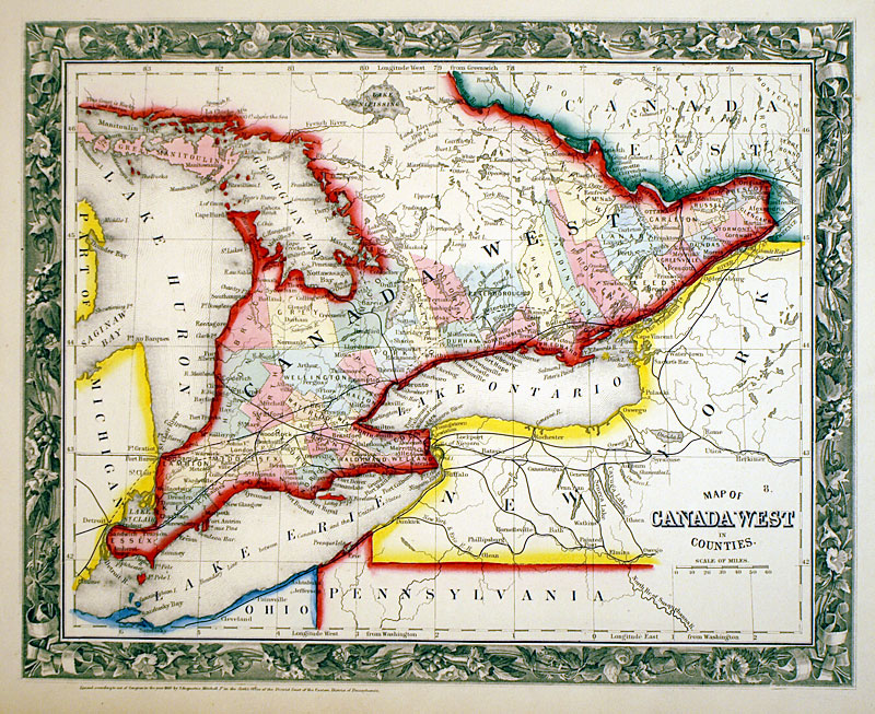 Map of Canada West     c 1860   Mitchell   SE Ontario Map of Canada West    c 1860   Mitchell   SE Ontario  M 13587     150 00    Antique Manuscripts  Maps  Prints and Antiquities