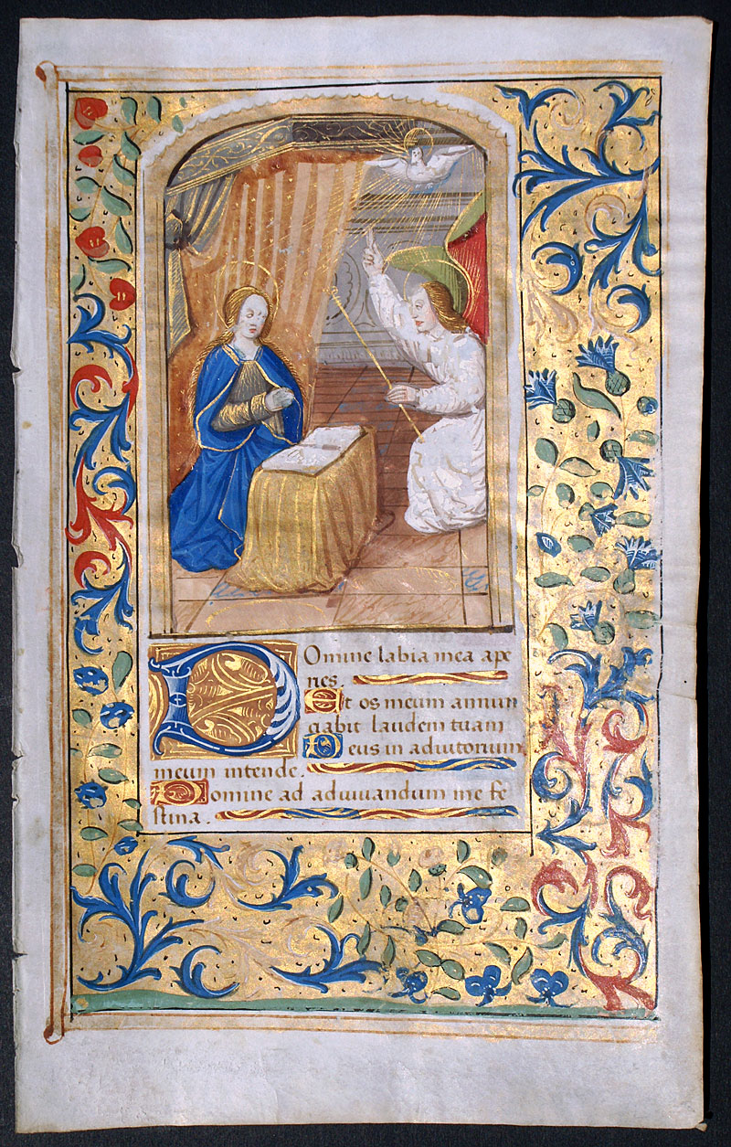 Annunciation To Virgin Mary Medieval Book Of Hours Leaf