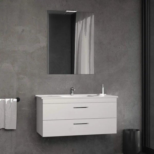Mobile Bagno Sospeso fast zip legno composizione specchiera lavabo luce colore Bianco