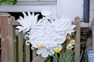 J Kay Aplin white flower relief