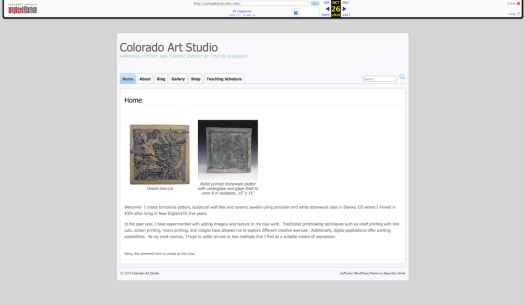 Archived Snapshot of my former website Colorado Art Studio