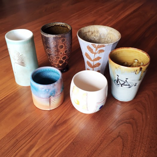 Collection of Handmade Pottery Wine Cups