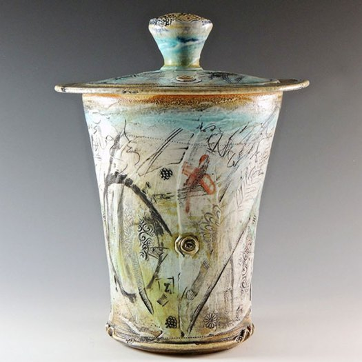 Kathleen Laurie - Printed and Slipped Covered Jar