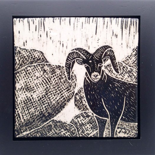 Jackson Gray of JackPots Pottery - Big Horn Sheep Sgraffito Tile