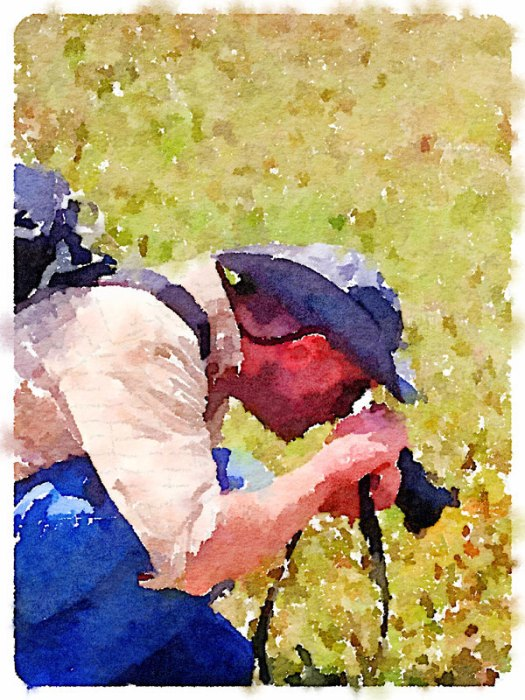 Jackson Gray of JackPots Pottery - Water Color of Husband Taking Photographs